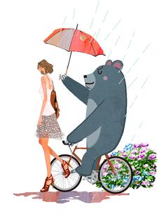 梅雨のアジサイと女の子とクマのイラスト素材 [FYI01639695]