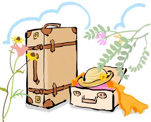 スーツケースと花と雲のイラスト素材 [FYI01639697]