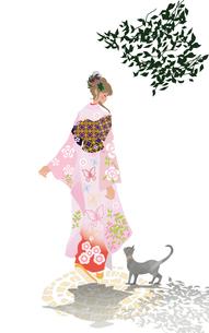 着物の女性と猫のイラスト素材 [FYI01639704]
