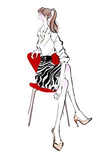 椅子でストレッチする女性のイラスト素材 [FYI01639711]