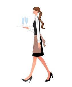 トレーで水を運ぶポニーテールのウェイトレスの女性のイラスト素材 [FYI01639717]