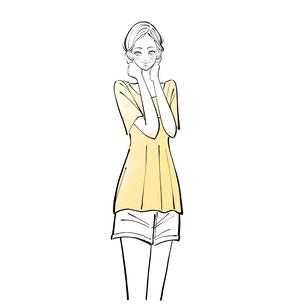 首に手を当てる洗顔後の女性のイラスト素材 [FYI01639722]