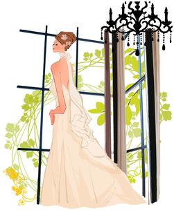 窓辺に立つウェディングドレスの女性のイラスト素材 [FYI01639735]