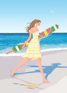 ビーチパラソルを持って裸足で砂浜を歩くワンピースの女性のイラスト素材 [FYI01639739]