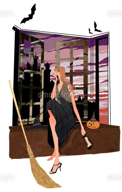 ハロウィンの箒とかぼちゃとこうもりと女の子のイラスト素材 [FYI01639744]