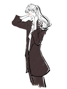 髪を上げるスーツを着た女の子のイラスト素材 [FYI01639751]