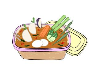 味噌に野菜を入れた漬け物のイラスト素材 [FYI01639752]
