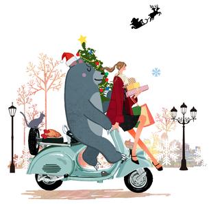 スクーター「ベスパ」に乗るプレゼントを持った女の子とクマと猫のイラスト素材 [FYI01639755]