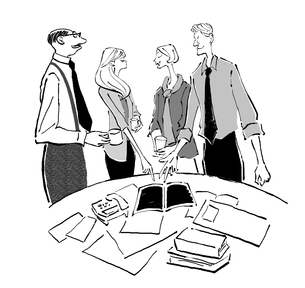 オフィスで打ち合わせをする会社員たちのイラスト素材 [FYI01639756]