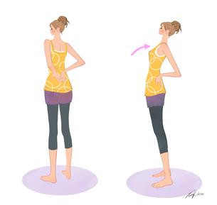 背中に手をあてて伸びのストレッチをする女の子のイラスト素材 [FYI01639759]