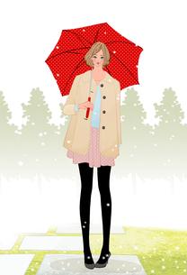 雪の降る中で傘を差すコートを着た女の子のイラスト素材 [FYI01639764]