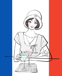 パリで帽子をかぶりカクテルを飲むショートカットの女性のイラスト素材 [FYI01639772]