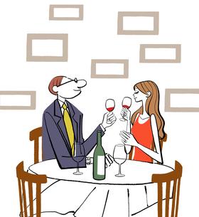 レストランで食事しながらワインを飲むカップルのイラスト素材 [FYI01639779]