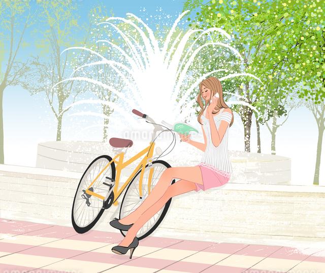 噴水のある公園で自転車から降りスマートフォンをかける女性のイラスト素材 [FYI01639780]