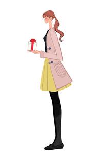 プレゼントを渡すポニーテールの女性のイラスト素材 [FYI01639782]