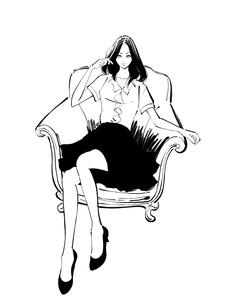 ソファに背をもたせかけて座るボブの女性のイラスト素材 [FYI01639786]