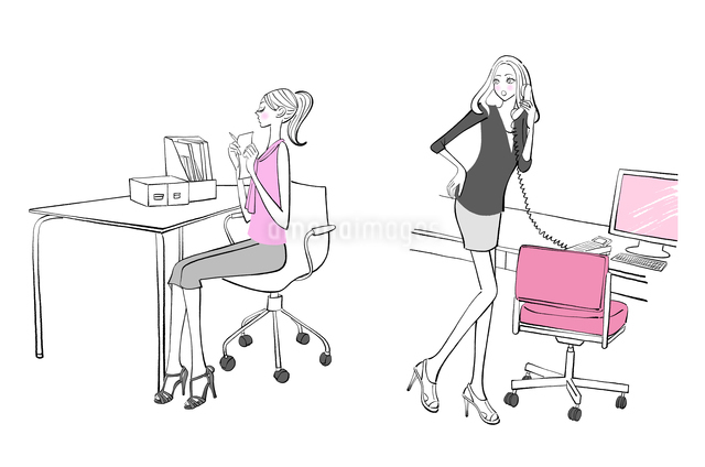会社の机で仕事をするOLたちのイラスト素材 [FYI01639787]