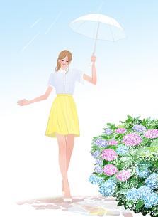 梅雨にあじさいのそばを傘を差して歩く女の子のイラスト素材 [FYI01639788]