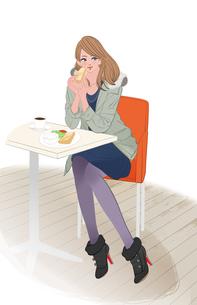 秋冬の服装で朝のカフェに座りモーニングを食べる女の子のイラスト素材 [FYI01639791]