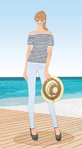 初夏の海辺で麦わら帽子を持って立つポニーテールの女性のイラスト素材 [FYI01639798]