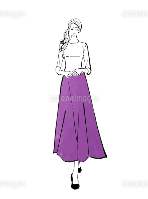 ロングスカートを履いて立つまとめ髪の女性のイラスト素材 [FYI01639799]