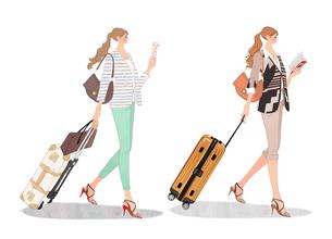 スーツケースを引いて本を読みながら歩く女の子のイラスト素材 [FYI01639800]
