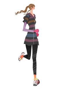 ジョギングするポニーテールの女の子のイラスト素材 [FYI01639808]