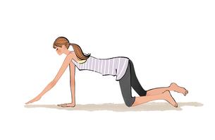 ストレッチ体操をするポニーテールの女性のイラスト素材 [FYI01639827]