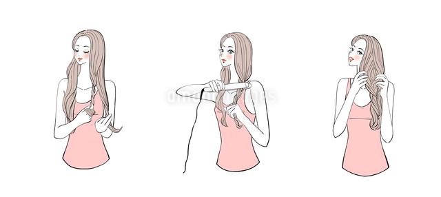 フラットアイロンで髪にウェーブを作る女の子のイラスト素材 [FYI01639829]