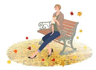 紅葉の下で公園のベンチに座りバゲットを食べる女性のイラスト素材 [FYI01639830]