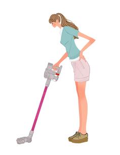 掃除機をかけるポニーテールの女性のイラスト素材 [FYI01639833]
