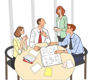 会議で打ち合わせする女性社員と男性社員のイラスト素材 [FYI01639835]