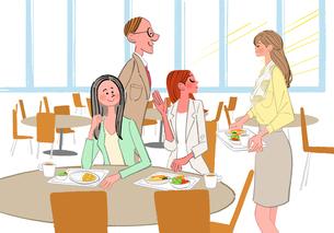 社員食堂でランチをするOLと男性社員のイラスト素材 [FYI01639837]