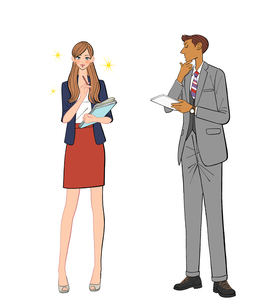 きらきら輝く女性社員と悩む男性のイラスト素材 [FYI01639838]