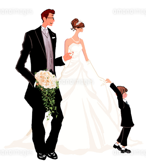 結婚式のウエディングドレスの女性とタキシードの男性と子供のイラスト素材 [FYI01639840]