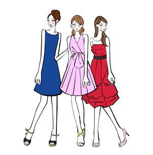 パーティに出席するドレスを着た女の子たちのイラスト素材 [FYI01639842]