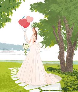 ウェディングドレスを着た風船をもった女性と青い鳥のイラスト素材 [FYI01639844]