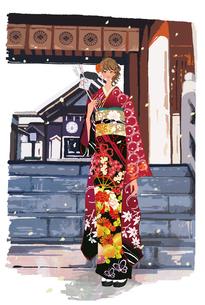 初詣の振袖の着物の女性と矢のイラスト素材 [FYI01639853]