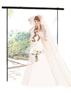 窓辺に立つウェディングドレスの女性のイラスト素材 [FYI01639866]