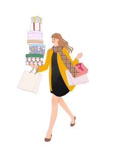 買い物してプレゼントを持って走る女性のイラスト素材 [FYI01639868]