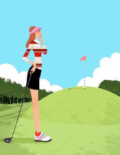 ゴルフ場でドライバーを持ちグリーンを狙うフェアウェイの女性のイラスト素材 [FYI01639871]