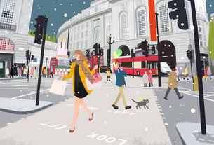 雪の降るロンドンの街を買い物して走る女性のイラスト素材 [FYI01639879]