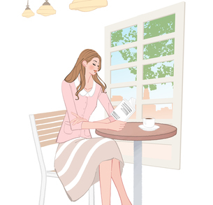 カフェで本を読みながらコーヒーを飲む女性のイラスト素材 [FYI01639880]