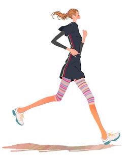 ジョギングするポニーテールの女の子のイラスト素材 [FYI01639893]