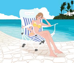 南国の海辺のプールで椅子に座りくつろぐビキニの女の子のイラスト素材 [FYI01639895]