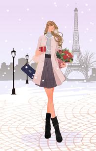冬のパリの街で、プレゼントと花束を持ち歩く女性のイラスト素材 [FYI01639896]