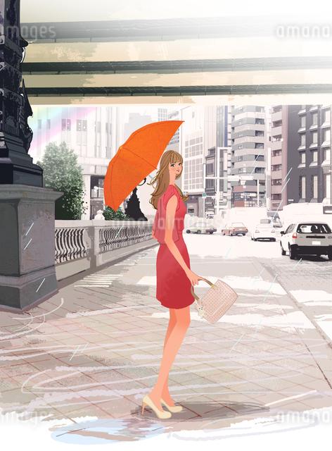雨の東京日本橋を傘を差して歩く都会の女性のイラスト素材 [FYI01639898]