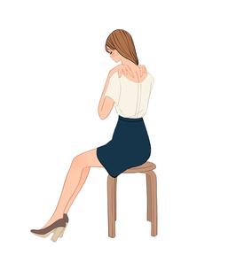 椅子に座り首と肩こりを揉む女性のイラスト素材 [FYI01639900]