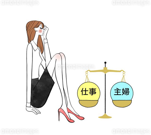 仕事か主婦かで悩む女性のイラスト素材 [FYI01639901]