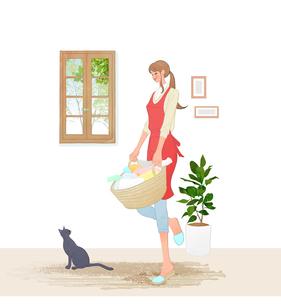 洗濯カゴを持つ女性と猫のイラスト素材 [FYI01639904]